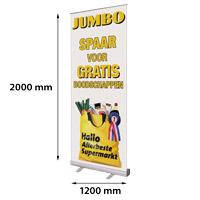 Roll Banner 1200 x 2000 mm met clip en aluminium eindkappen