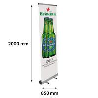 Roll Banner Mosquito 850 x 2000 mm kliksysteem boven met 2 staanders