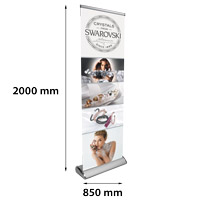 Roll Banner Luxueus 850 x 2000 mm kliksysteem boven chroom met luxe ovale voet