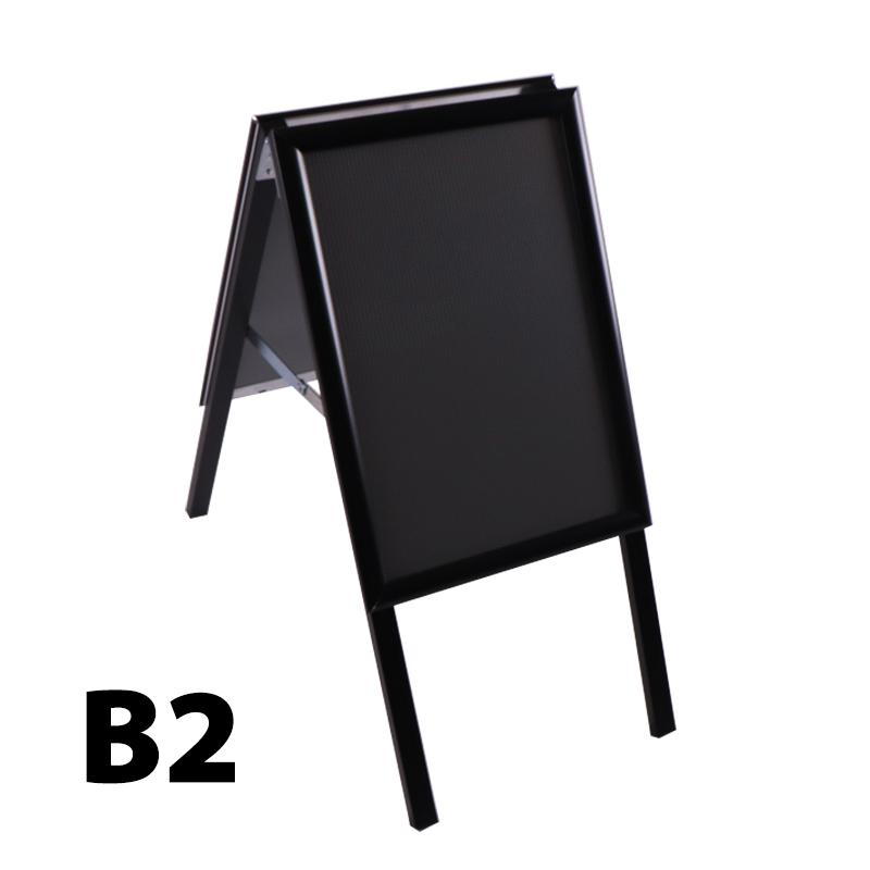 Stoepbord A-model 32 mm verstek B2 zwart 500 x 700