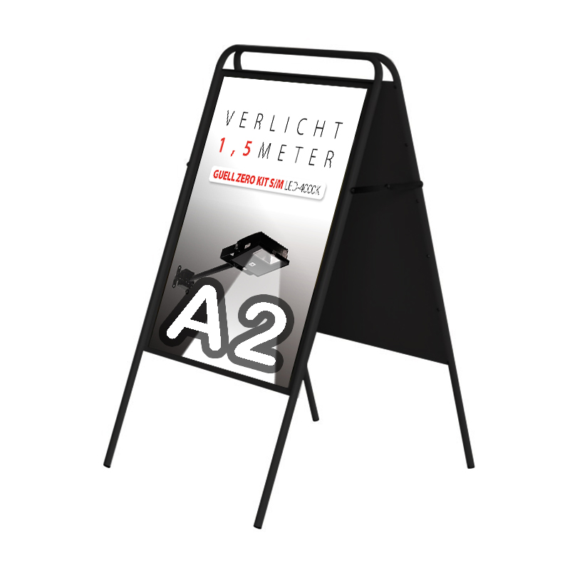 Stoepbord Londen zonder topbord vierkant A2 zwart