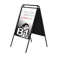 Stoepbord Londen zonder topbord vierkant B1 zwart