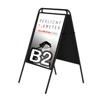 Stoepbord Londen zonder topbord vierkant B2 zwart