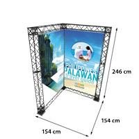 Corner Banner model 764 154 cm x 154 cm x 246 cm. Voor specificatie van de samenstelling zie de catalogus.