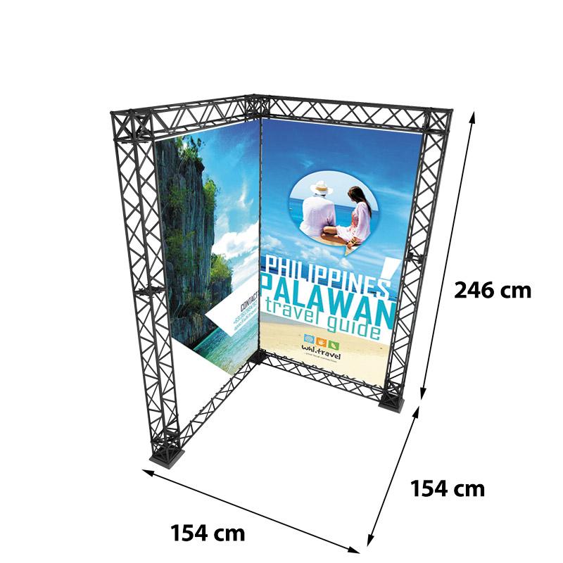 Corner Banner model 764 154 cm x 154 cm x 246 cm