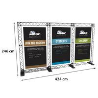 Triple Banner model 765 424 cm x 246 cm. Voor specificatie van de samenstelling zie de catalogus.