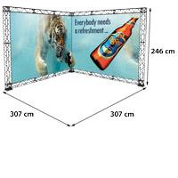 L-Shape 3x3 model 768 307 cm x 307 cm x 246 cm. Voor specificatie van de samenstelling zie de catalogus.