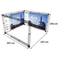 U-Shape 4x4 model 771 397 cm x 397 cm x 246 cm. Voor specificatie van de samenstelling zie de catalogus.