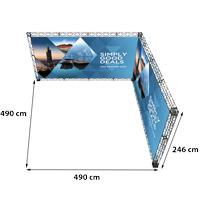 L-Shape 5x5 model 772 490 cm x 490 cm x 246 cm. Voor specificatie van de samenstelling zie de catalogus.