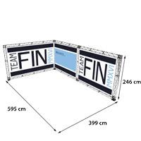 L-Shape 4x5 model 774 595 cm x 399 cm x 246 cm. Voor specificatie van de samenstelling zie de catalogus.