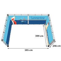 U-Shape 4x6 model 775 595 cm x 399 cm x 246 cm. Voor specificatie van de samenstelling zie de catalogus.