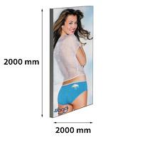 Dame textiel frame enkelzijdig 2000x2000 mm (muur) 45 x 26 mm
