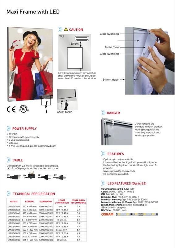 Maxi Frame LED Lightbox enkelzijdig B2