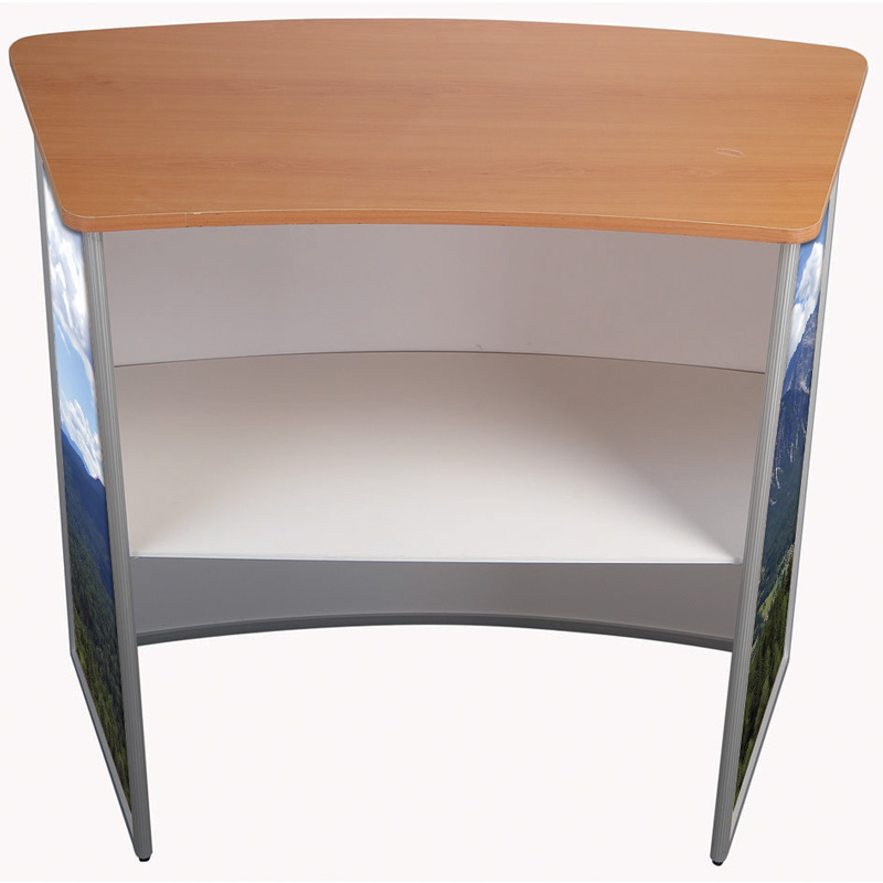 Panset counter table convex wood finished top