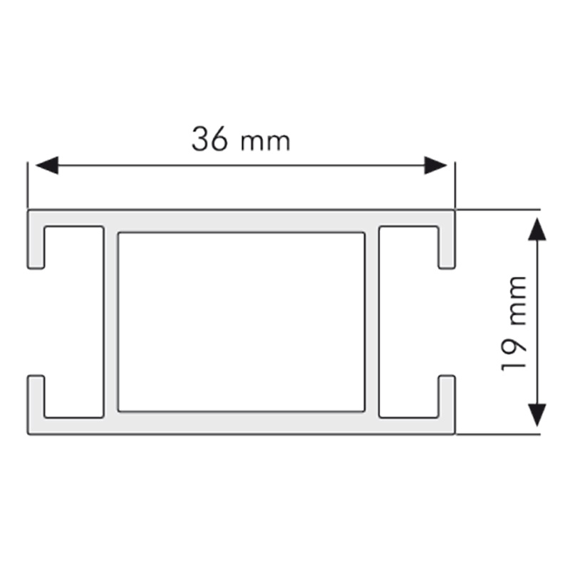 H-profile for Maxi Frames 36 x 19 mm ø 3 meters