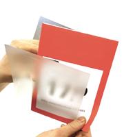 Anti reflexsheet 0,5 mm A4 Dubbel gevouwen als V-tas op korte zijde