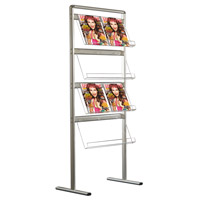 Brochure set 8 x A4 folderhouders enkelzijdig met vloerstaander