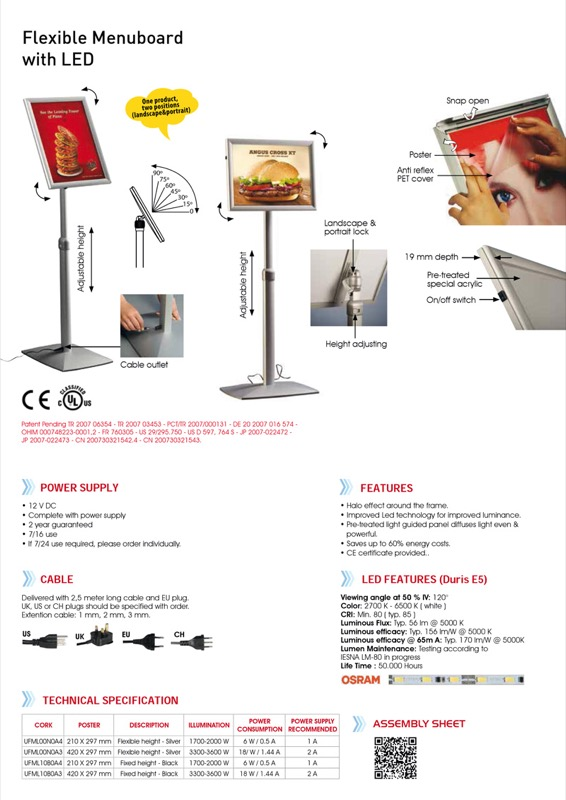 Flexible menuboard with LEDbox adjustable height silver A4