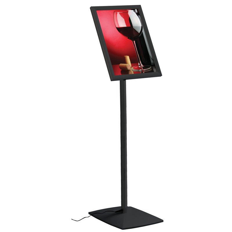 Flexible menuboard with LEDbox fixed height black A3