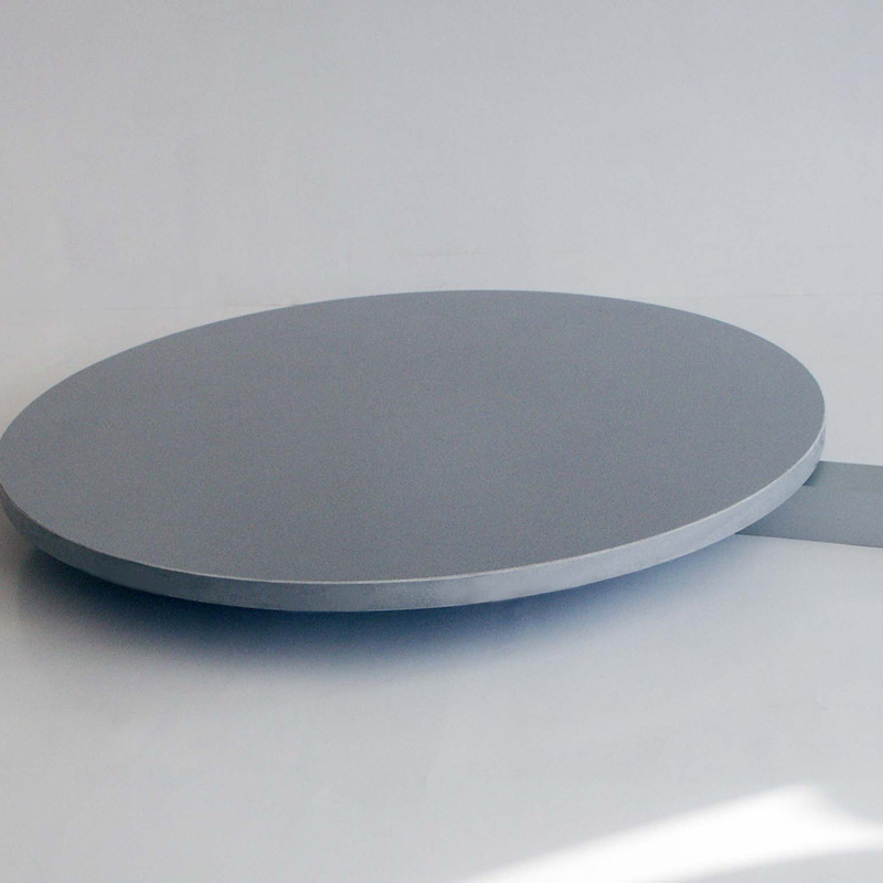 Round grey shelf for free standing pole / round