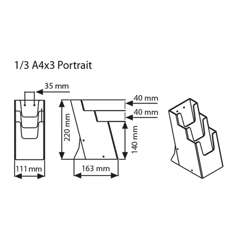 Multiple pocket leaflet dispenser A4/3