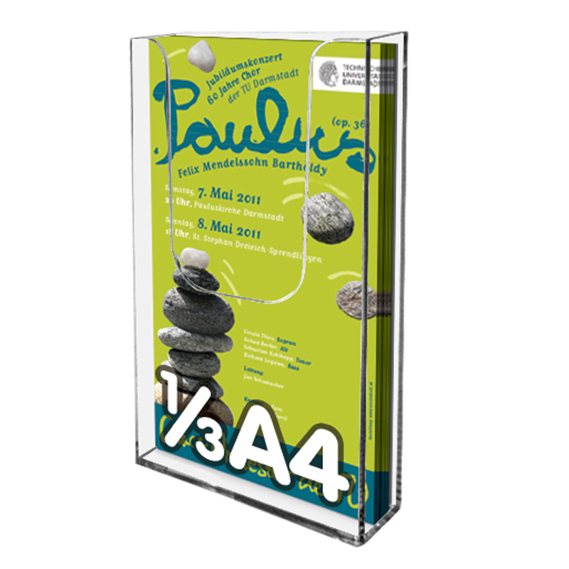 Leaflet dispenser for wall 1ø3 A4