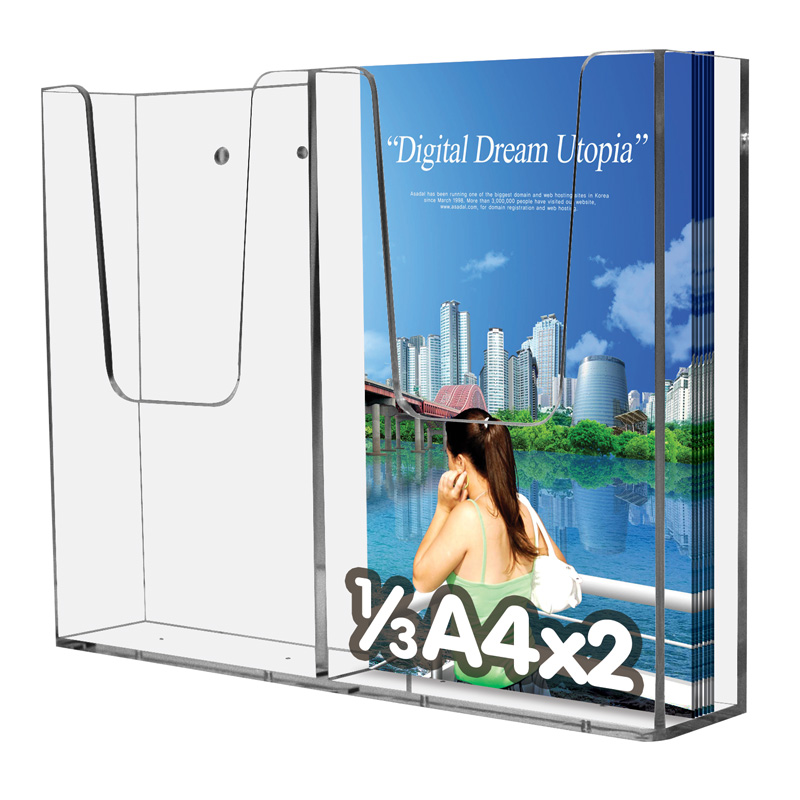 Leaflet dispenser for wall 1ø3 A4 x 2