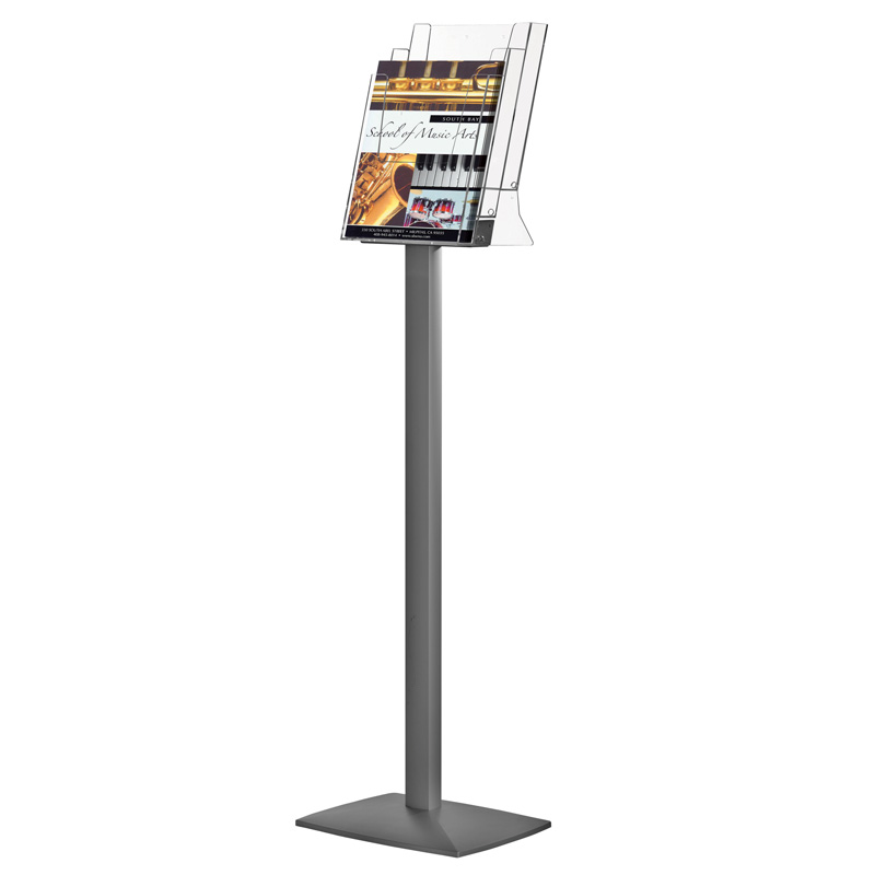 Pillar leaflet dispenser 3 tiers 3xA4