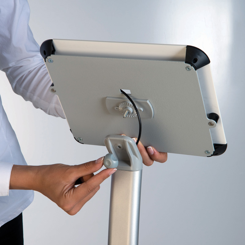 Curved kiosk for ipad white cover on top
