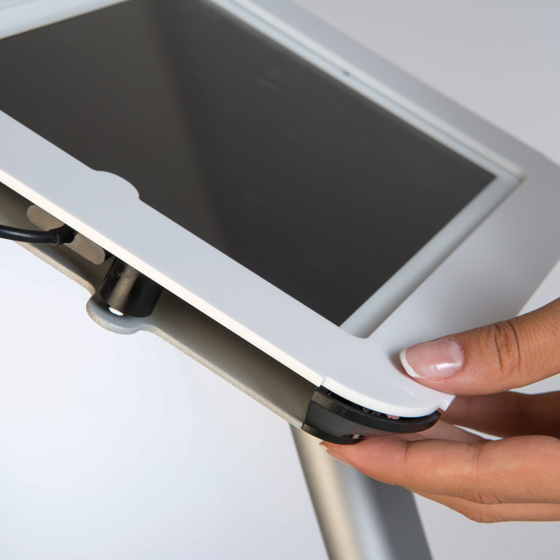 Novel kiosk fuer iPad, Weiss, Hoch und Querformat