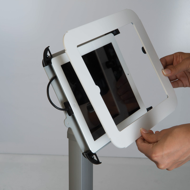 Flexible kiosk for ipad with fixed height black cover on top
