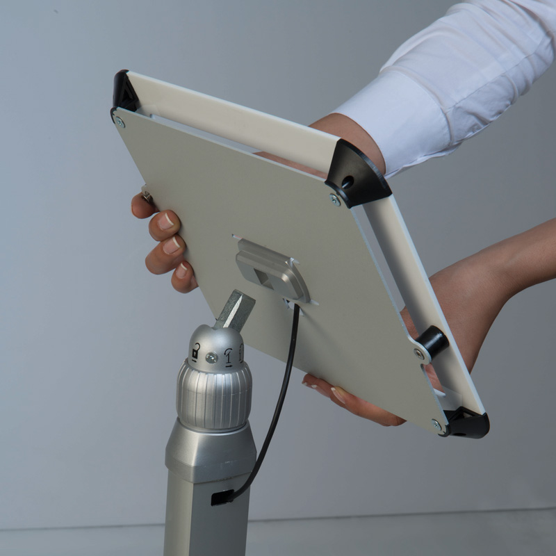 Flexible kiosk for ipad with fixed height white cover on top