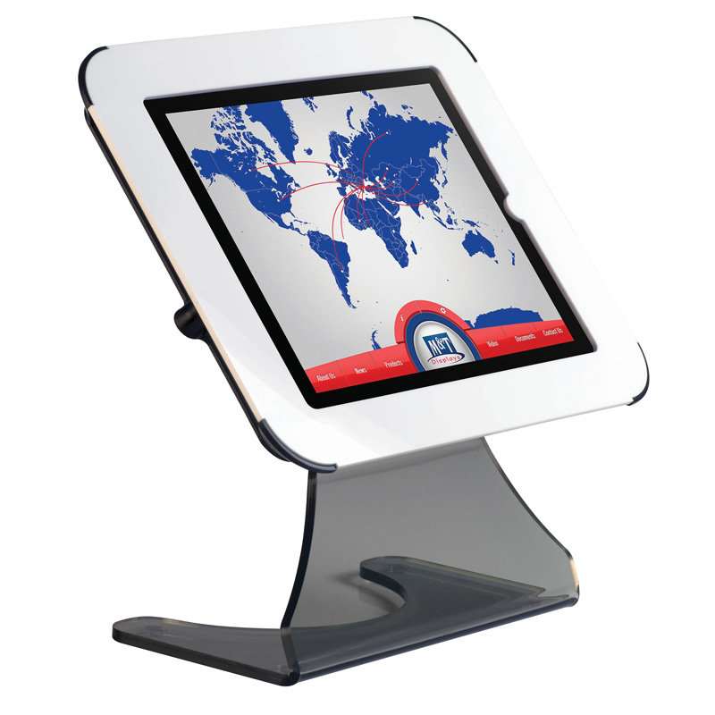 Desktop kiosk for ipad - white cover on top