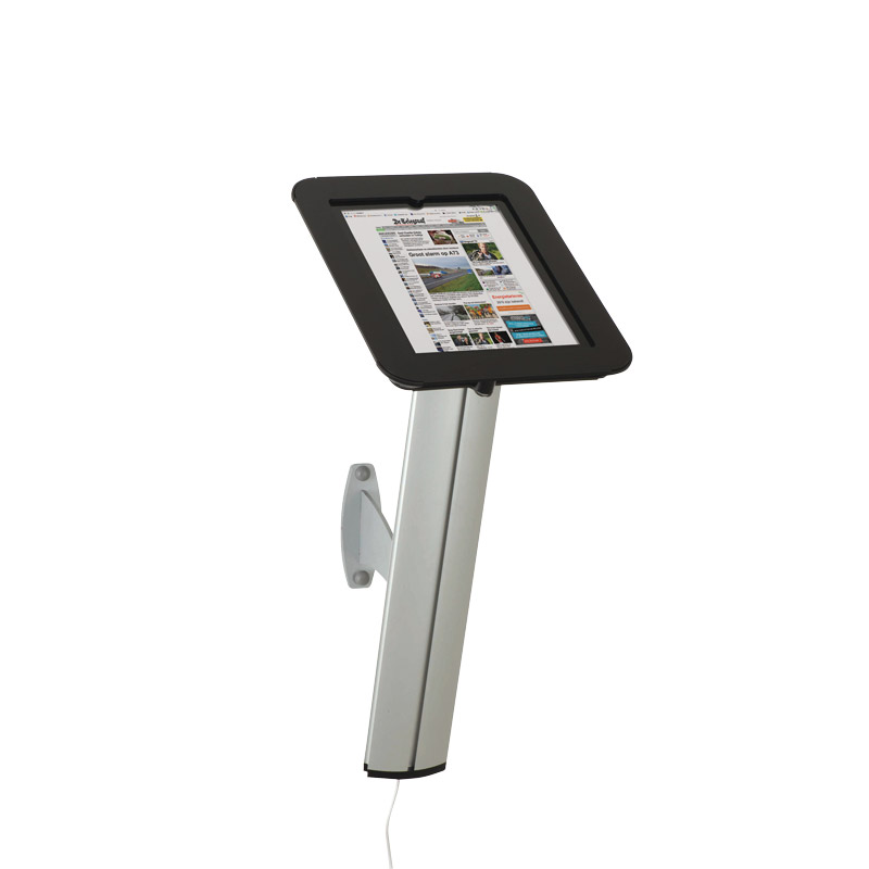 Novel kiosk for ipad for wall black cover on top