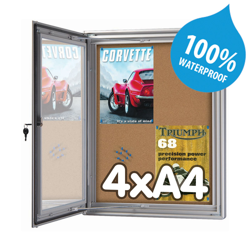 Noticeboard lockable cork 4 x A4