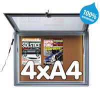 Notitiebord 4 x A4 waterdicht kurk LED verlichting, 483 x 653 mm