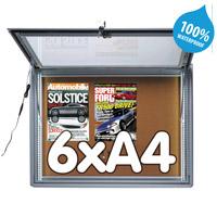 Notitiebord 6 x A4 waterdicht kurk LED verlichting, 483 x 973 mm