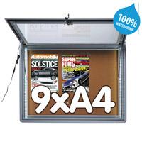 Notitiebord 9 x A4 waterdicht kurk LED verlichting, 713 x 973 mm