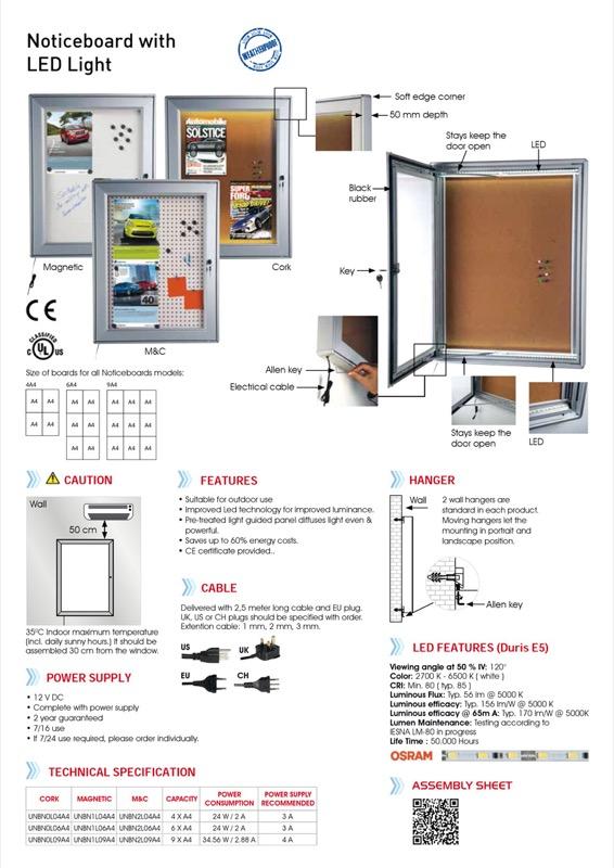 Notitiebord magnetisch 4xA4 LED