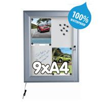 Notitiebord 9 x A4 waterdicht magnetisch LED verlichting 713 x 973 mm