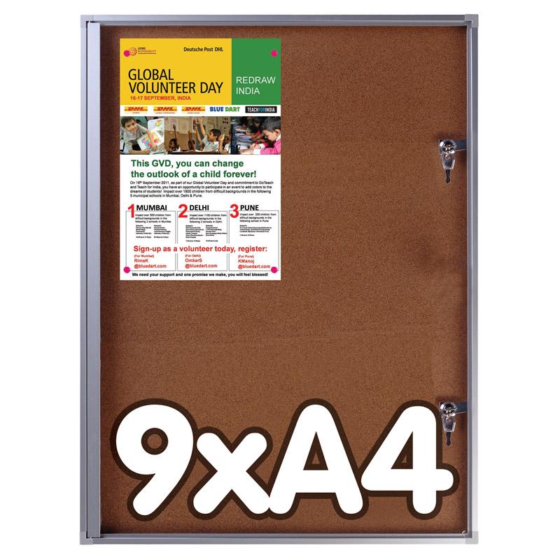 Officebord kurk 9 x A4 binnengebruik afsluitbaar