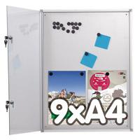 Officebord magnetisch 9 x A4 binnengebruik afsluitbaar