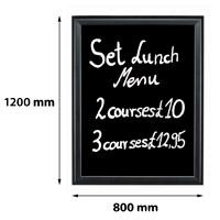 Presentatiebord 800 x 1200 mm beschrijfbaar en uitwisbaar 27 mm profiel zwart