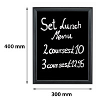 Presentatiebord 300 x 400 mm beschrijfbaar en uitwisbaar 27 mm profiel zwart