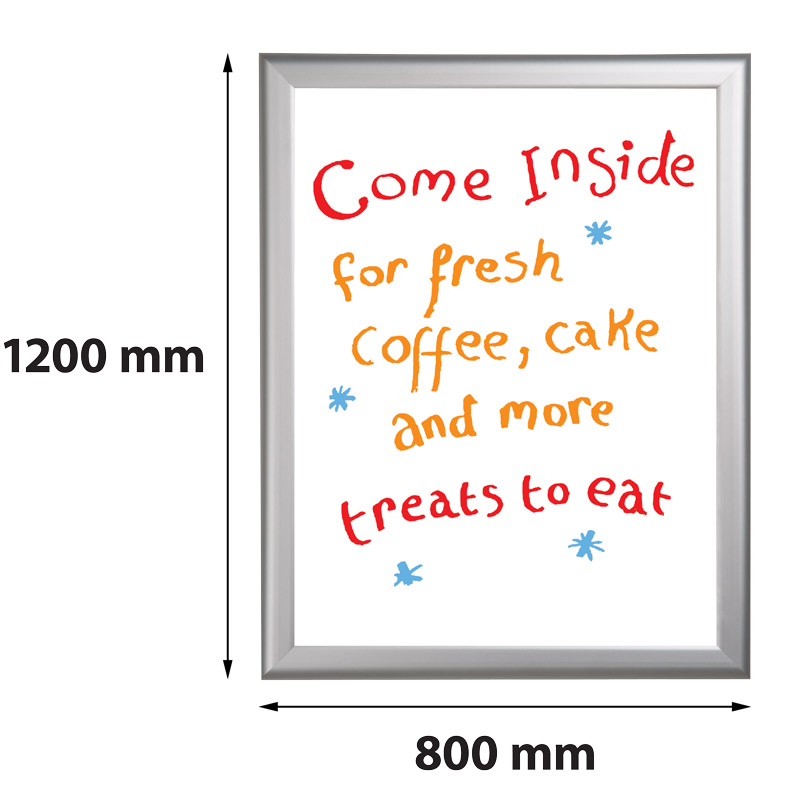 Presentatiebord 800 x 1200 mm beschrijfbaar en uitwisbaar 27 mm