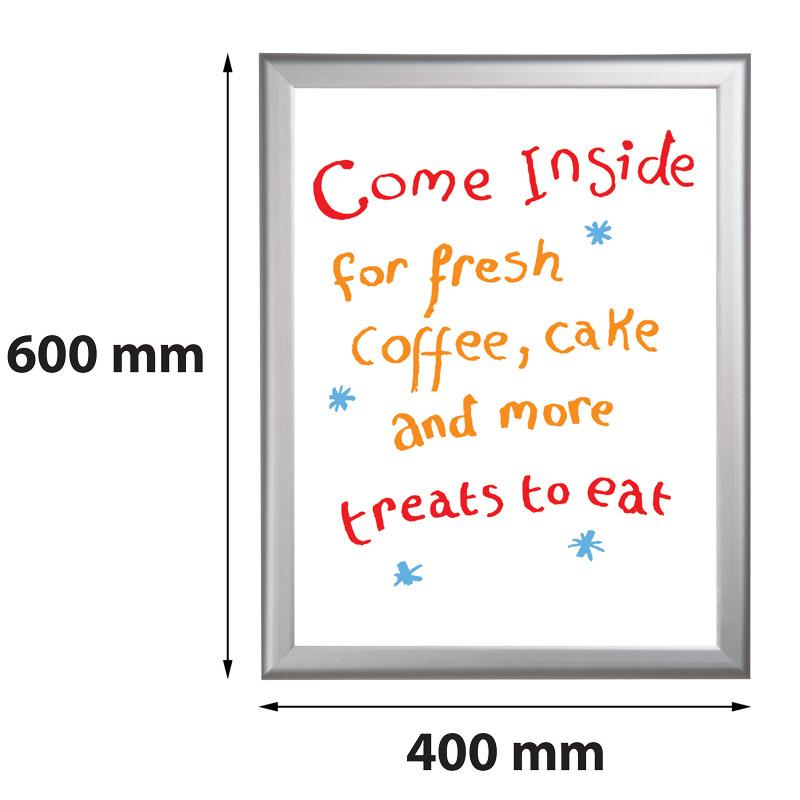 Presentatiebord 400 x 600 mm beschrijfbaar en uitwisbaar 27 mm