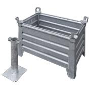 Stalenbak verzinkt inclusief paal bevestiging diameter 70 mm excl. beton 800 x 500 x 400 mm