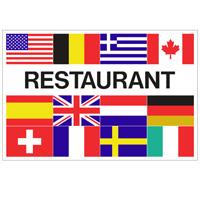 Vlag Restaurant + 12 landen 1500 x 2250 mm