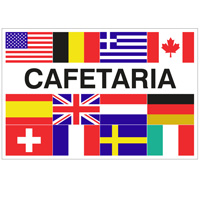 Vlag Cafetaria + 12 landen 1000 x 1500 mm