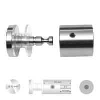Klassieke glashouder RVS met platte kop. Diameter 13 mm Wandafstand 25 mm boorgat diameter 10 mm.